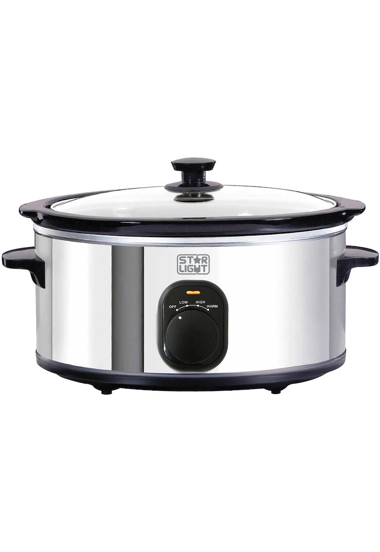 Slow cooker - 4.5l - 240W - Vas ceramica detasabil - Functie de pastrare la cald - Inox