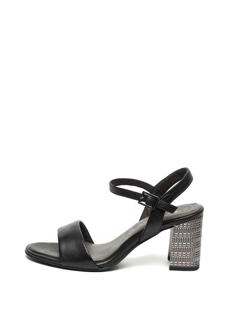 Sandale de piele cu toc masiv texturat de la Tamaris