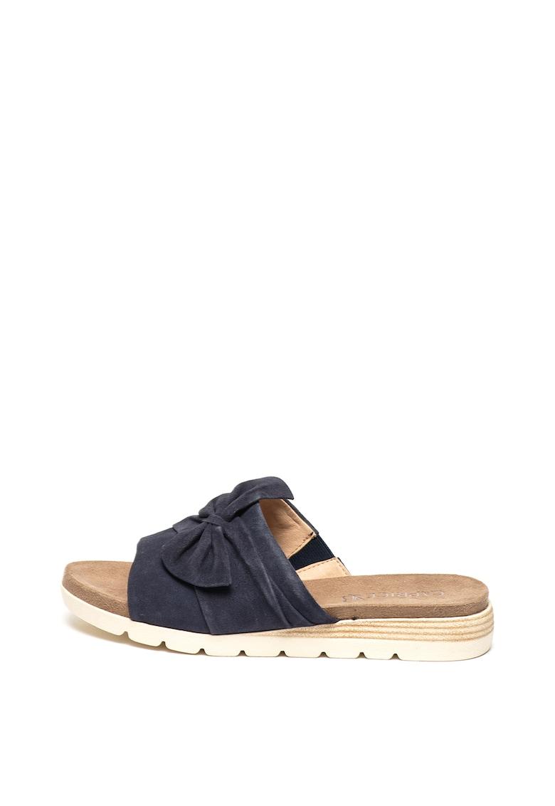 Papuci de piele intoarsa cu detaliu funda