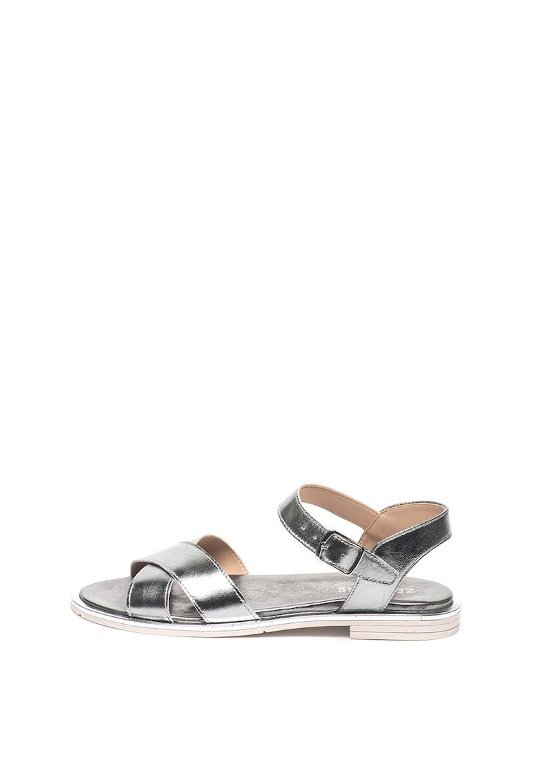Zee Lane Sandale de piele cu aspect metalizat Lory Lam