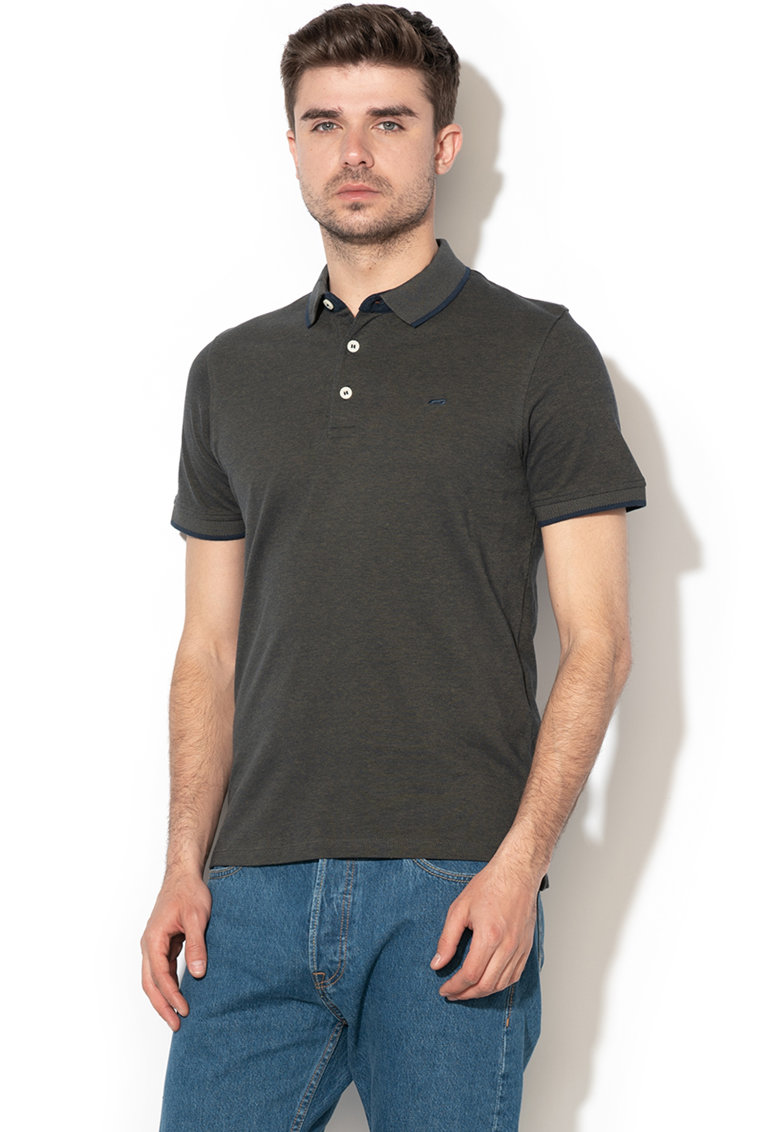 Tricou polo slim fit din material pique Paulos