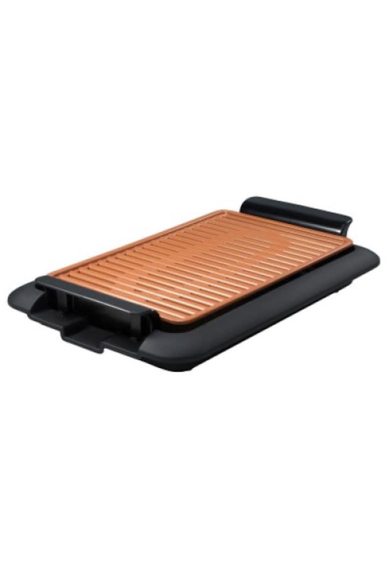 MediaShop Gratar electric  Livingtone Smokeless Grill  - Tava scurgere - 4 setari de temperatura - Tehnologie TiCerama - Placa grill - 1000W - Nergu/Portocaliu