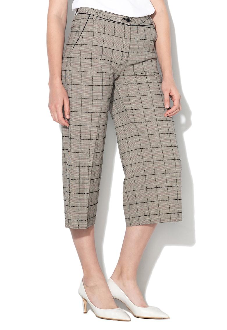 Pantaloni culotte cu model in carouri si buzunare oblice