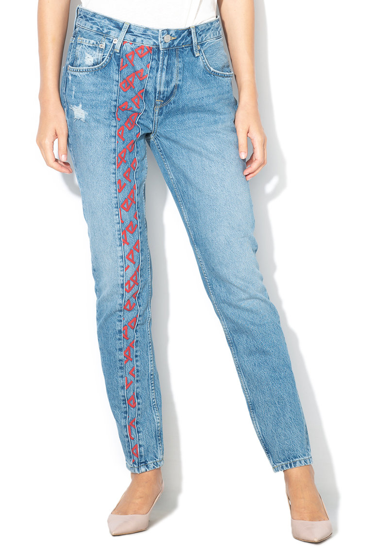 Pepe Jeans London Blugi mom fit cu croiala conica Violet Archive