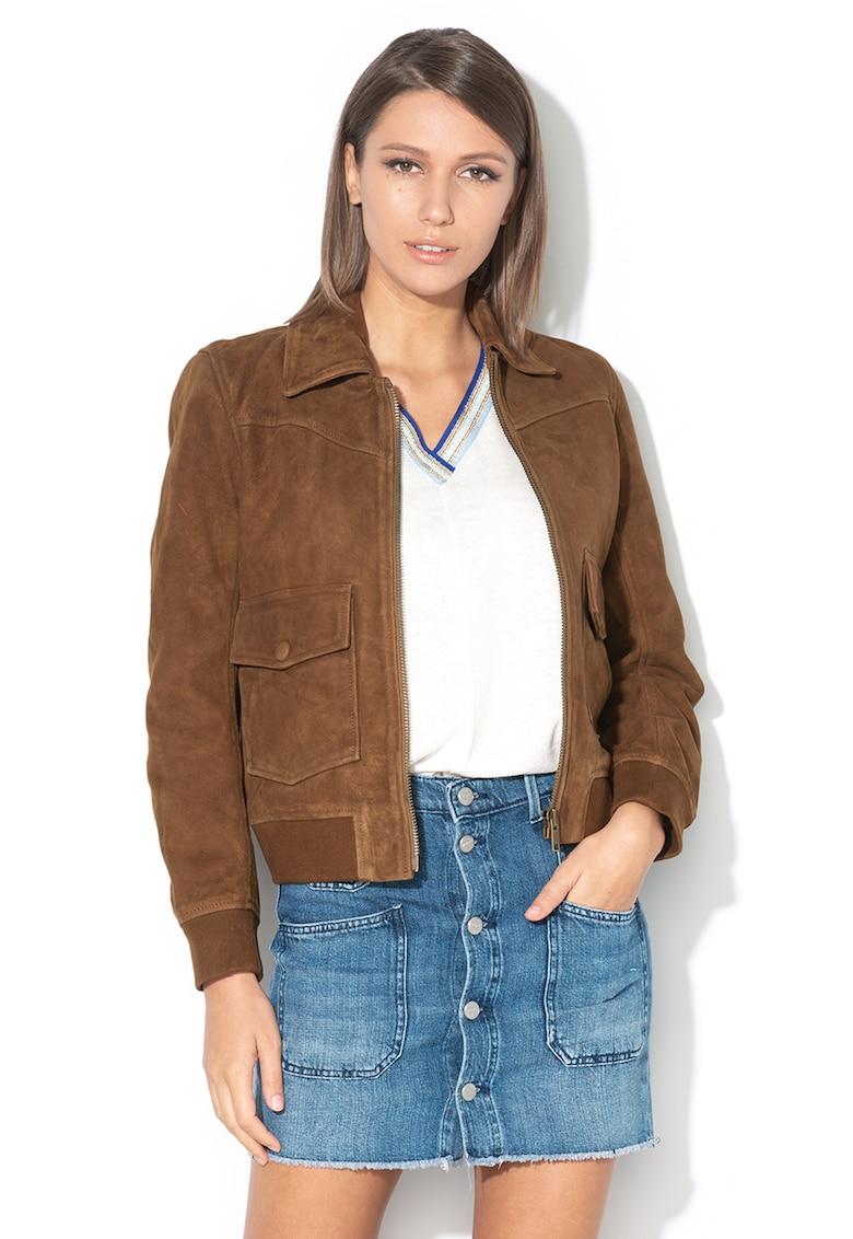 Jacheta de piele intoarsa cu buzunar cu clapa Eleanor imagine
