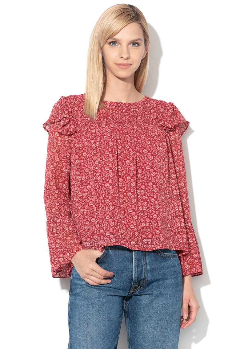 Bluza cu model floral si maneci tip clopot Lois
