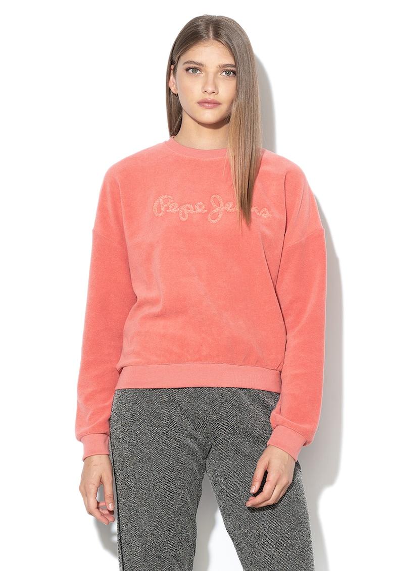 Bluza sport din material terry cu aplicatie logo Noelia