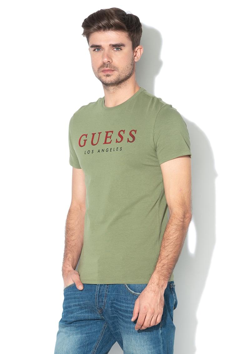 Tricou super slim cu imprimeu logo texturat