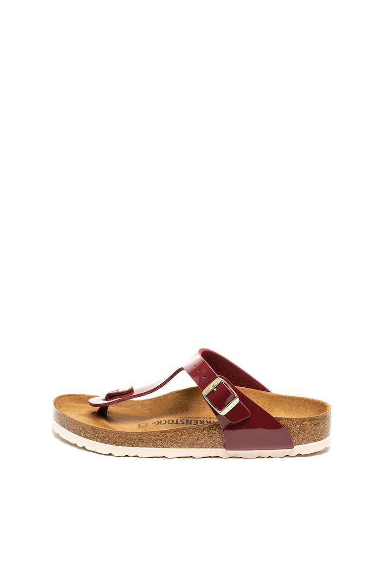 Papuci regular fit de piele ecologica lacuita - cu bareta separatoare Gizeh