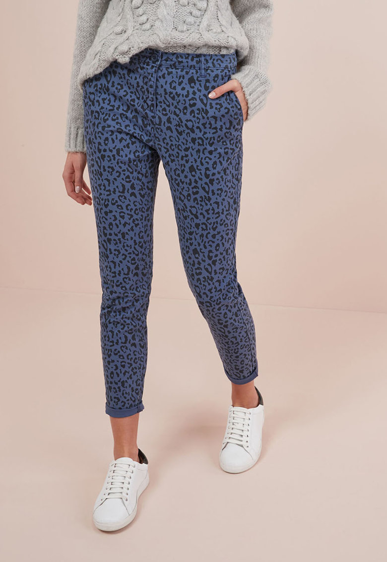 Pantaloni chino cu animal print