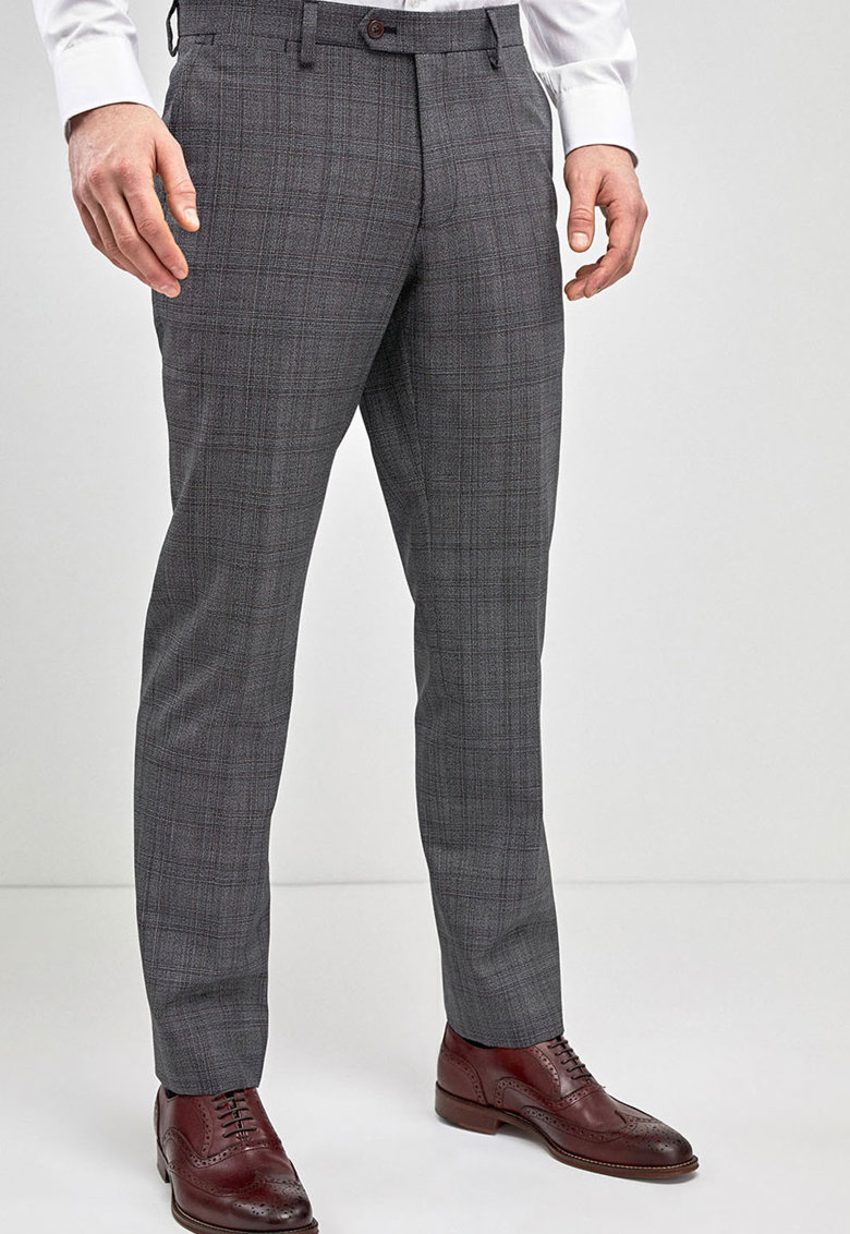 Pantaloni slim fit in carouri – din amestec de lana de la NEXT