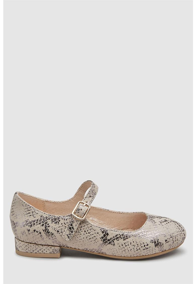 Pantofi Mary Jane de piele cu aspect reptila