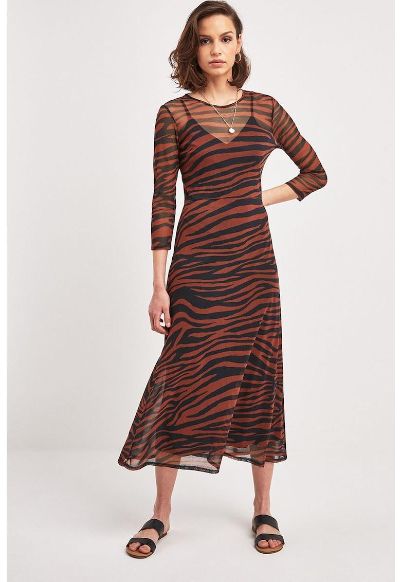 Rochie midi cu imprimeu zebra