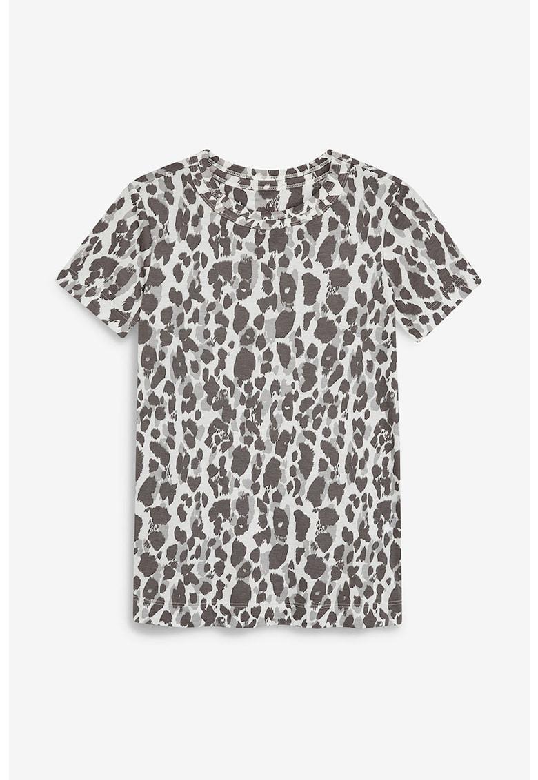 Tricou cu decolteu la baza gatului si animal print