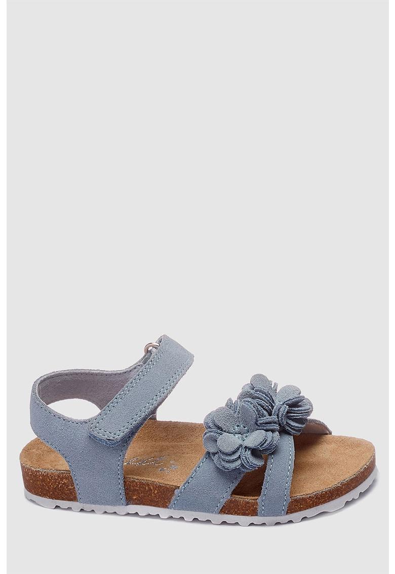 Sandale de piele intoarsa cu aplicatii florale