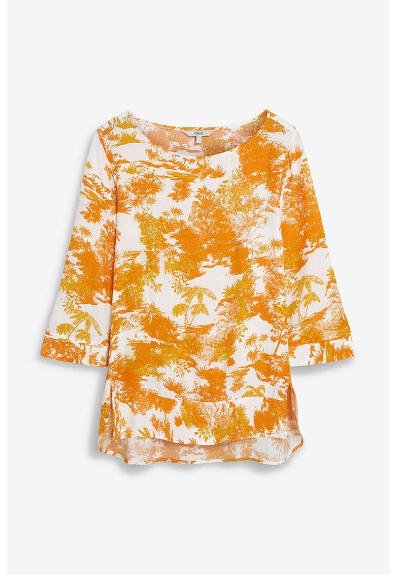 NEXT Bluza cu imprimeu tropical cu slituri laterale