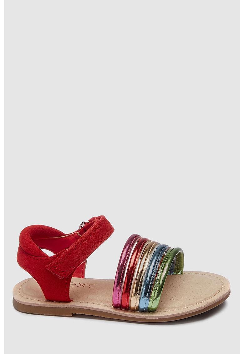 Sandale cu velcro si detalii metalizate
