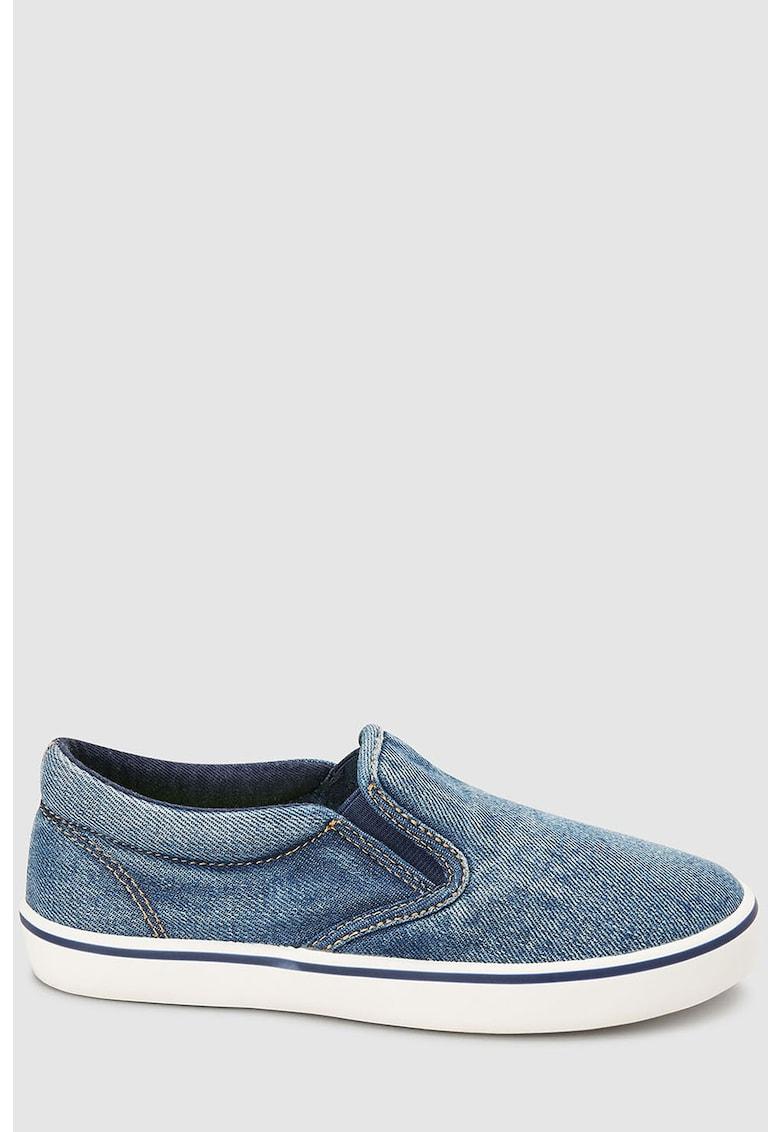 Pantofi slip-on cu aspect de denim