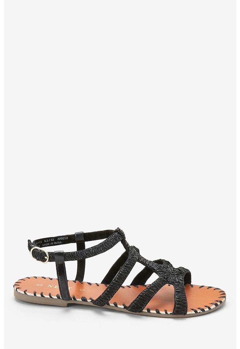 Sandale de piele cu aplicatii de rafie