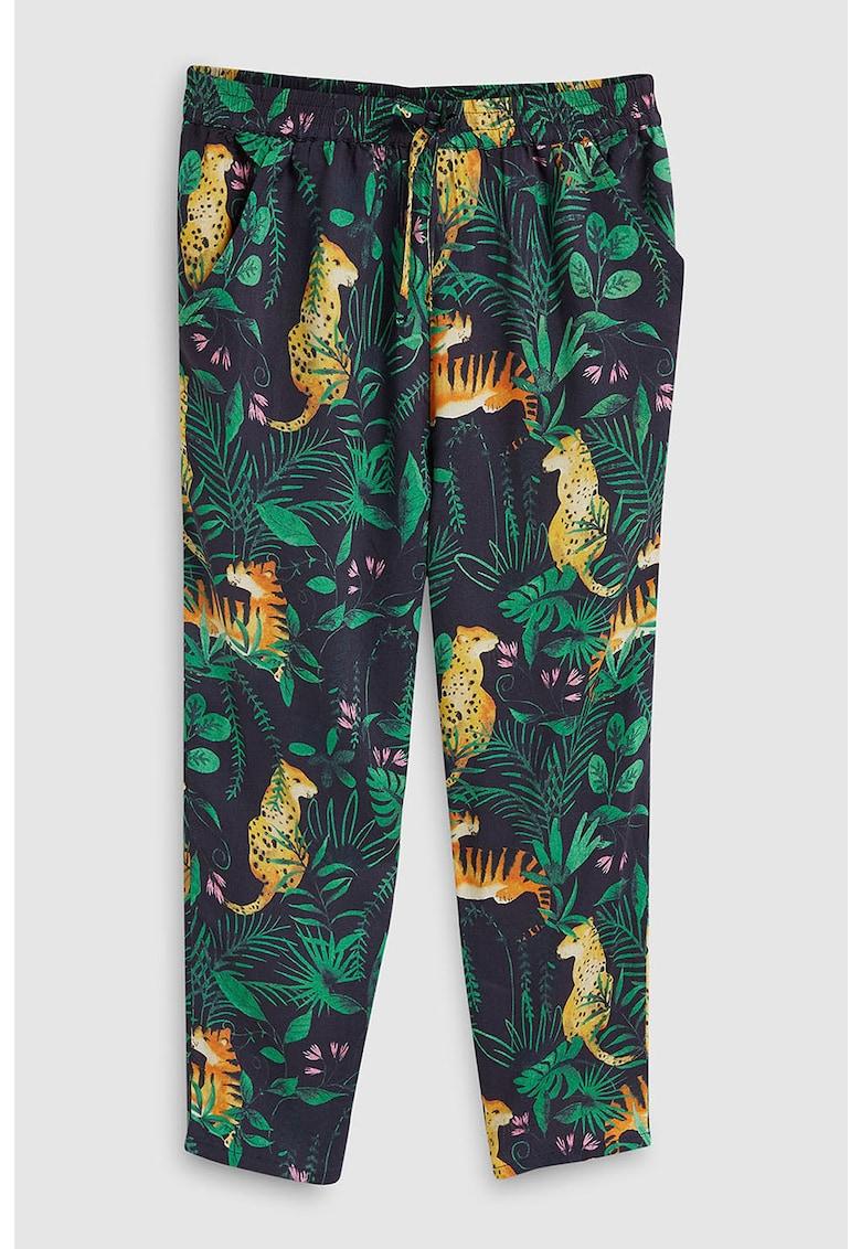 Pantaloni cu imprimeu tropical