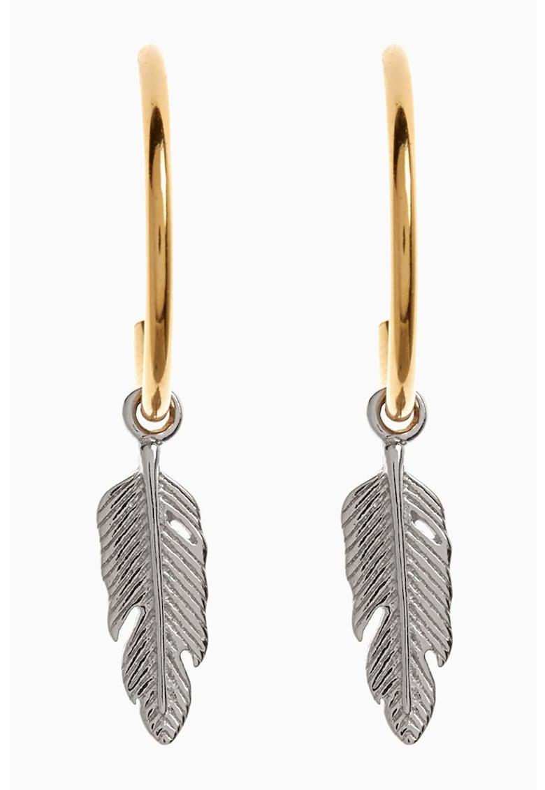 Cercei din argint veritabil 925 placat cu aur de 18 carata cu talismant frunza
