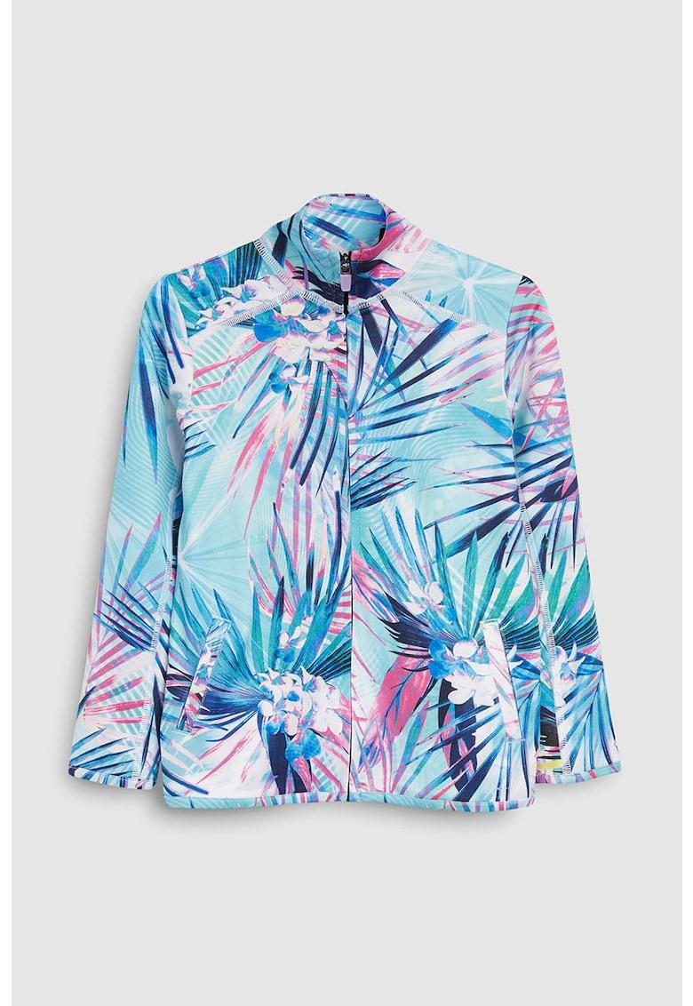 Bluza sport din material usor - cu fermoar si imprimeu tropical