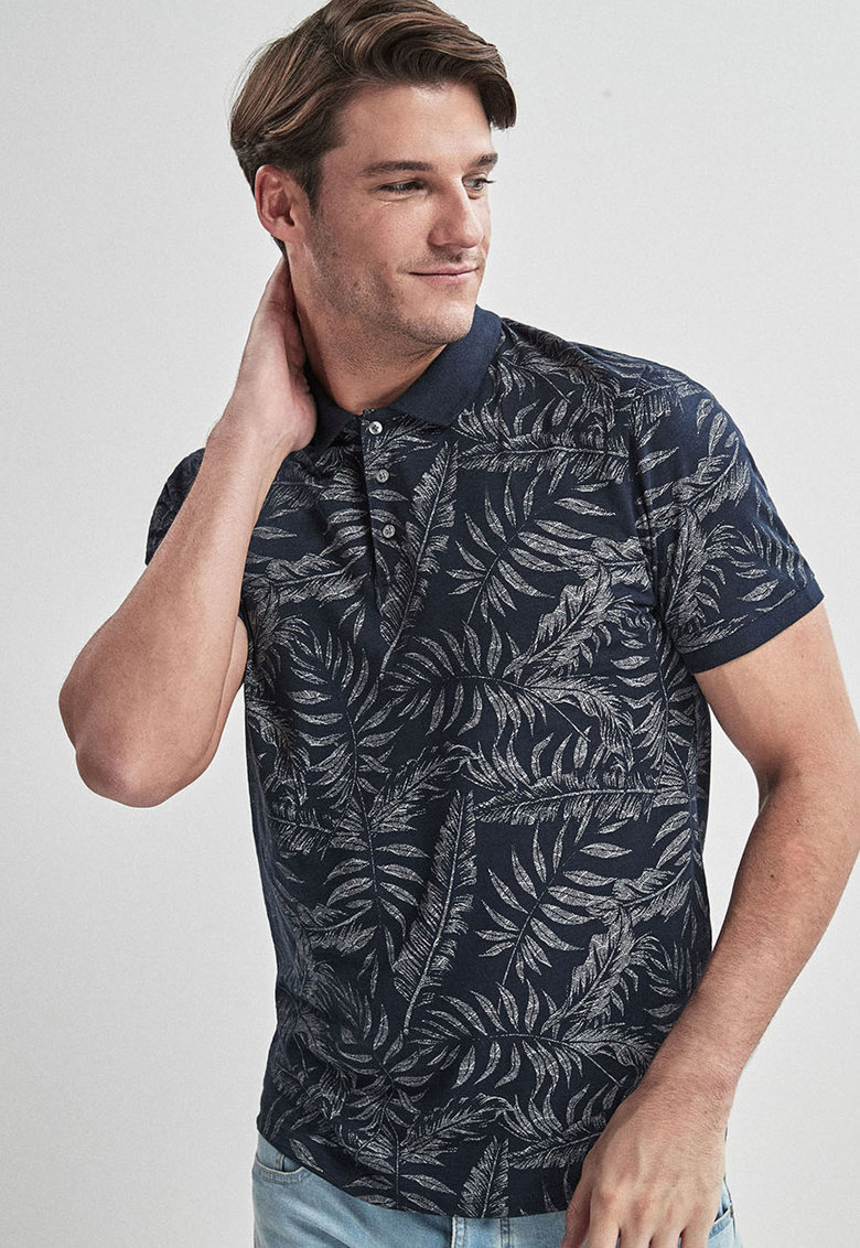 NEXT Tricou polo regular fit cu model tropical