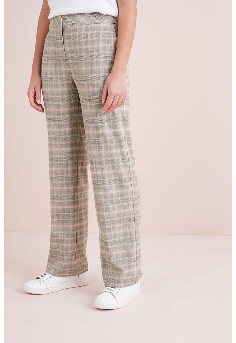 Pantaloni cu model in carouri si croiala ampla