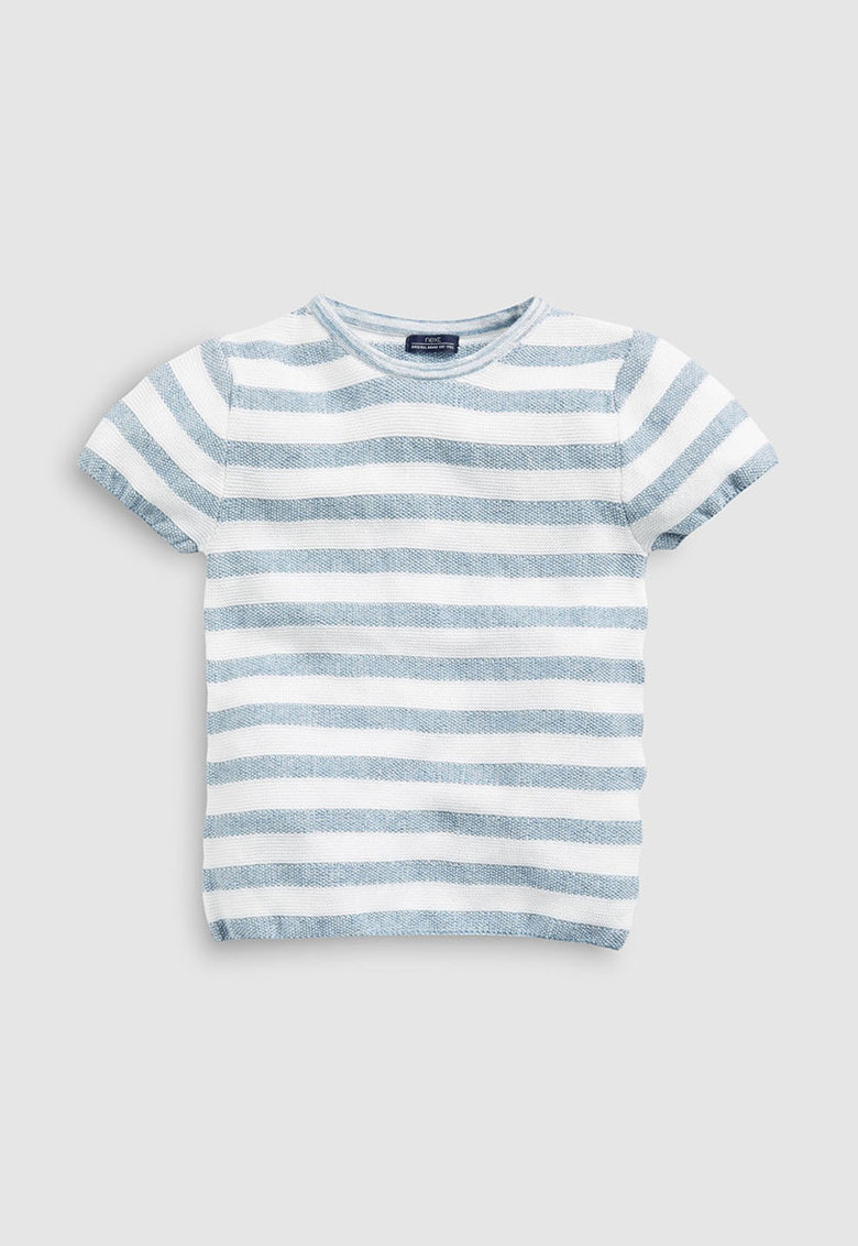 Tricou din material tricotat - cu model in dungi