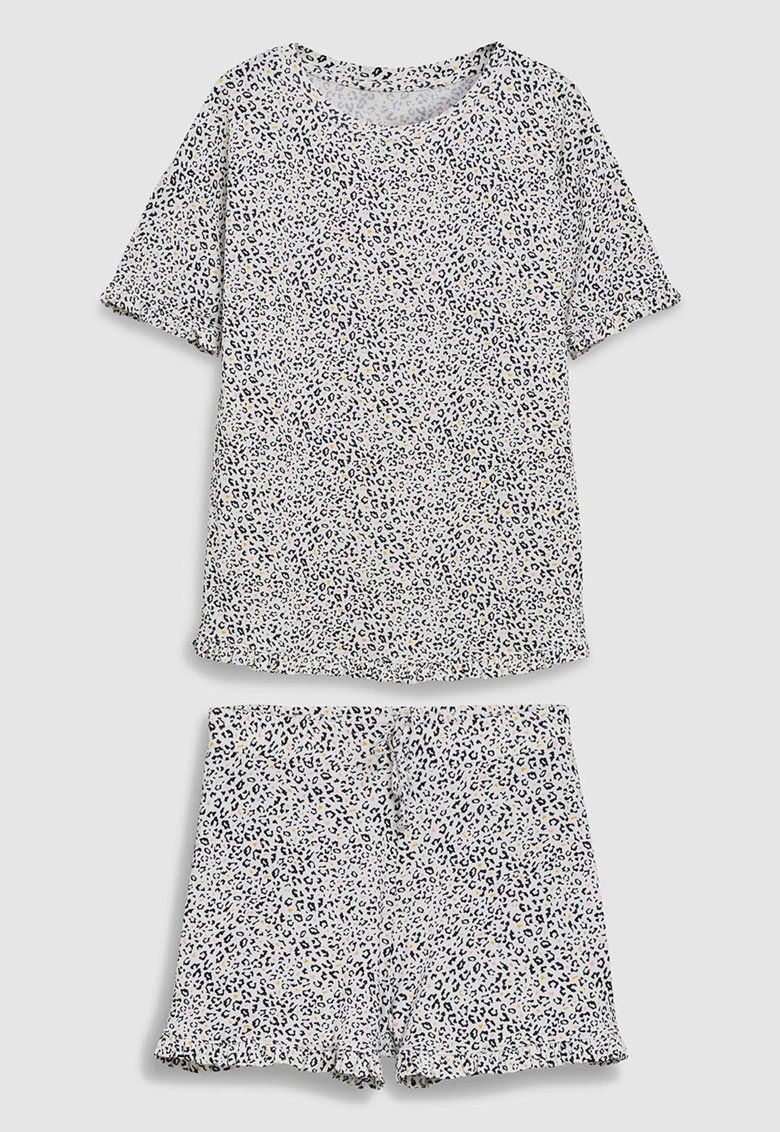 Pijama cu pantaloni scurti si animal print