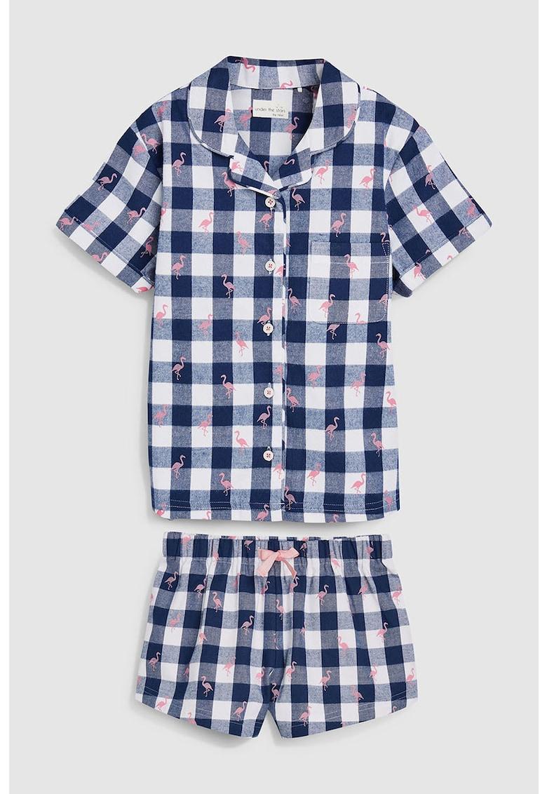 Set de pijama in carouri cu pantaloni scurti