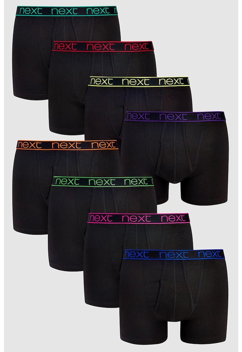 Set de boxeri cu banda logo neon in talie - 4 perechi