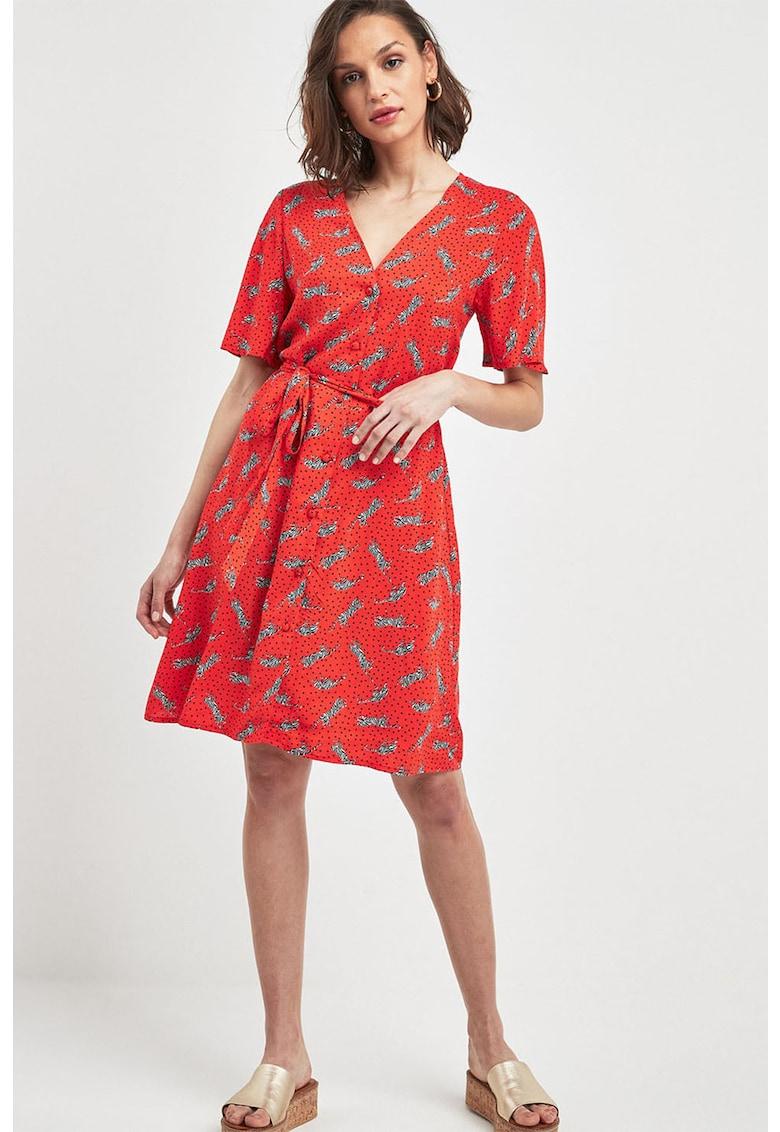 Rochie cu imprimeu - nasturi si cordon in talie