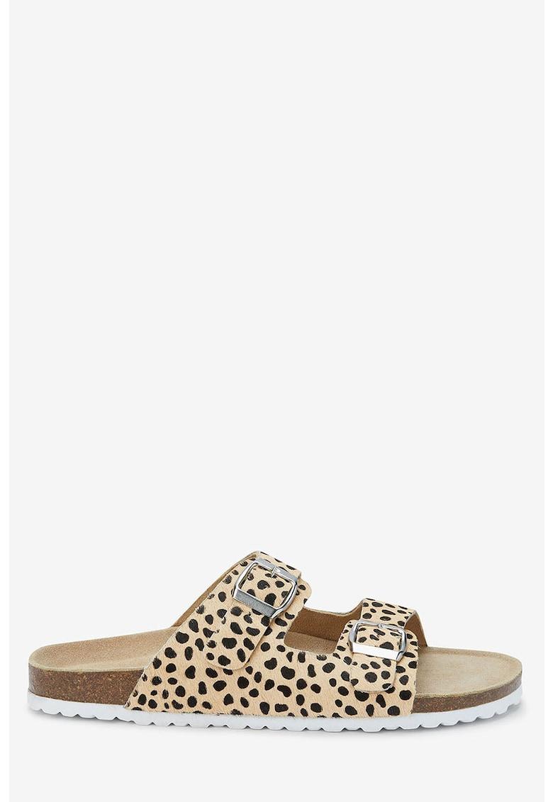 Papuci de piele cu par scurt si animal print de la NEXT