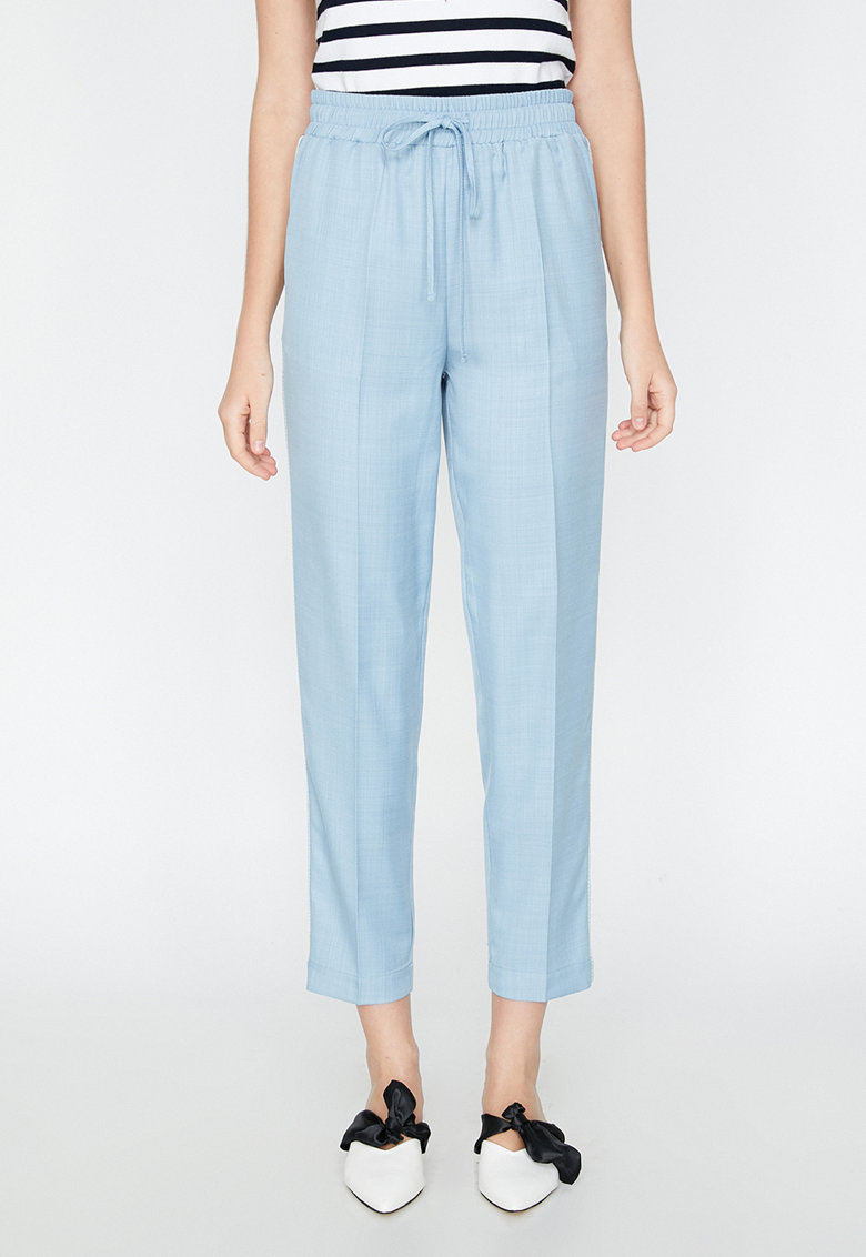 KOTON Pantaloni crop relaxed fit cu dungi in partile laterale