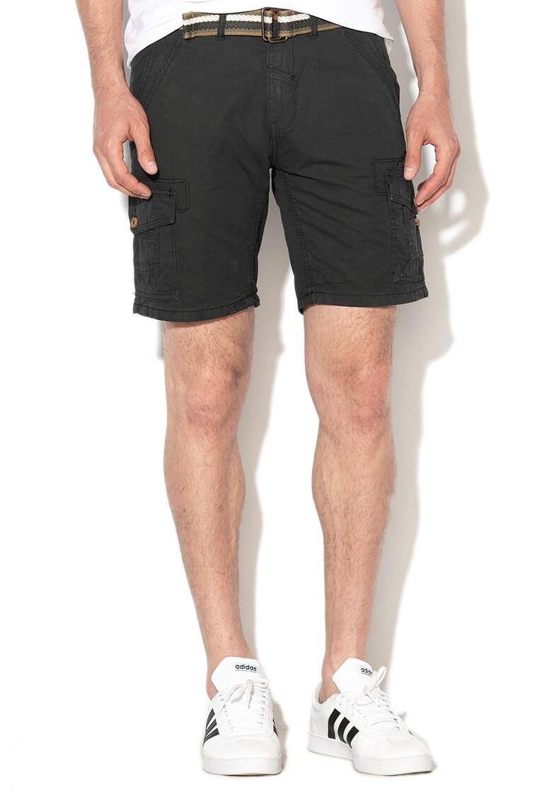 Pantaloni scurti regular fit cu aplicatie logo si curea de la BLEND