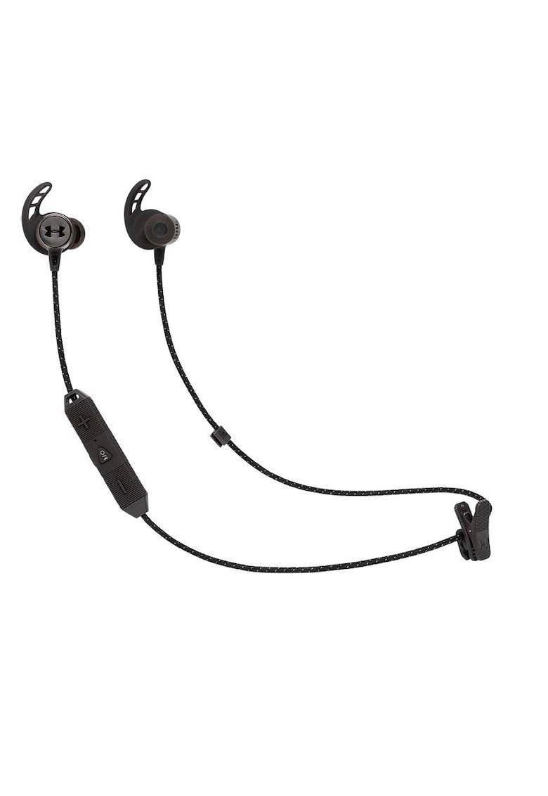Casti sport In-Ear Under Armour React - Water Proof IPX7 - Bionic Hearing - Bluetooth Wireless - 9h Playback - Negru