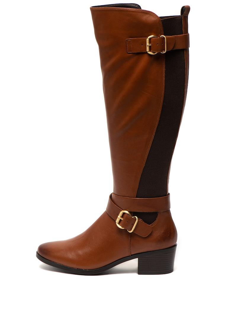 Cizme de piele lungi pana la genunchi -cu detaliu curea Elvaralith