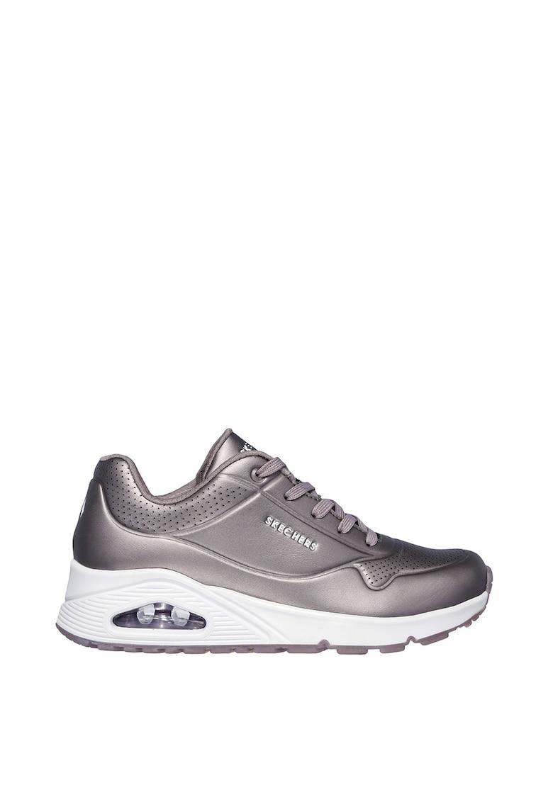Pantofi sport de piele ecologica - cu aspect perforat Rose Bold imagine