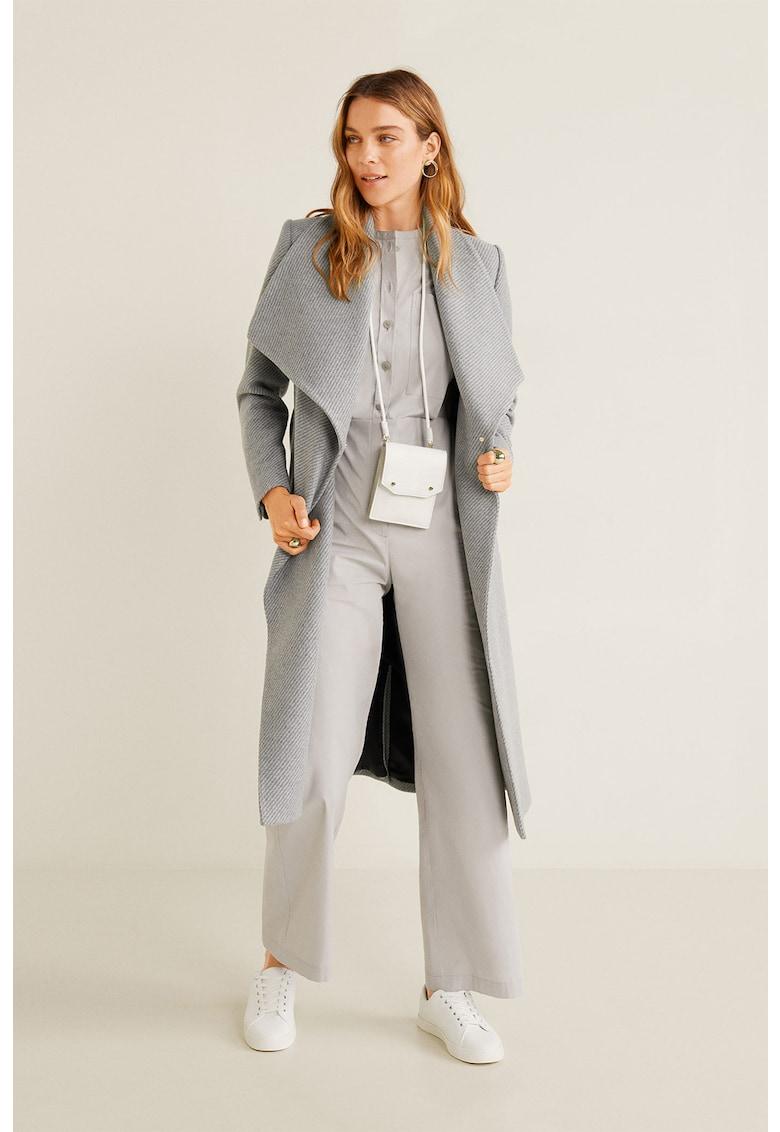 Palton din amestec de lana – cu model texturat si revere late Barto de la Mango