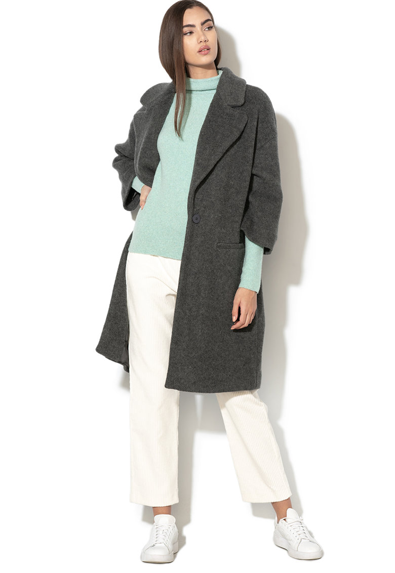 Palton din amestec de lana cu maneci 3/4 Dosso