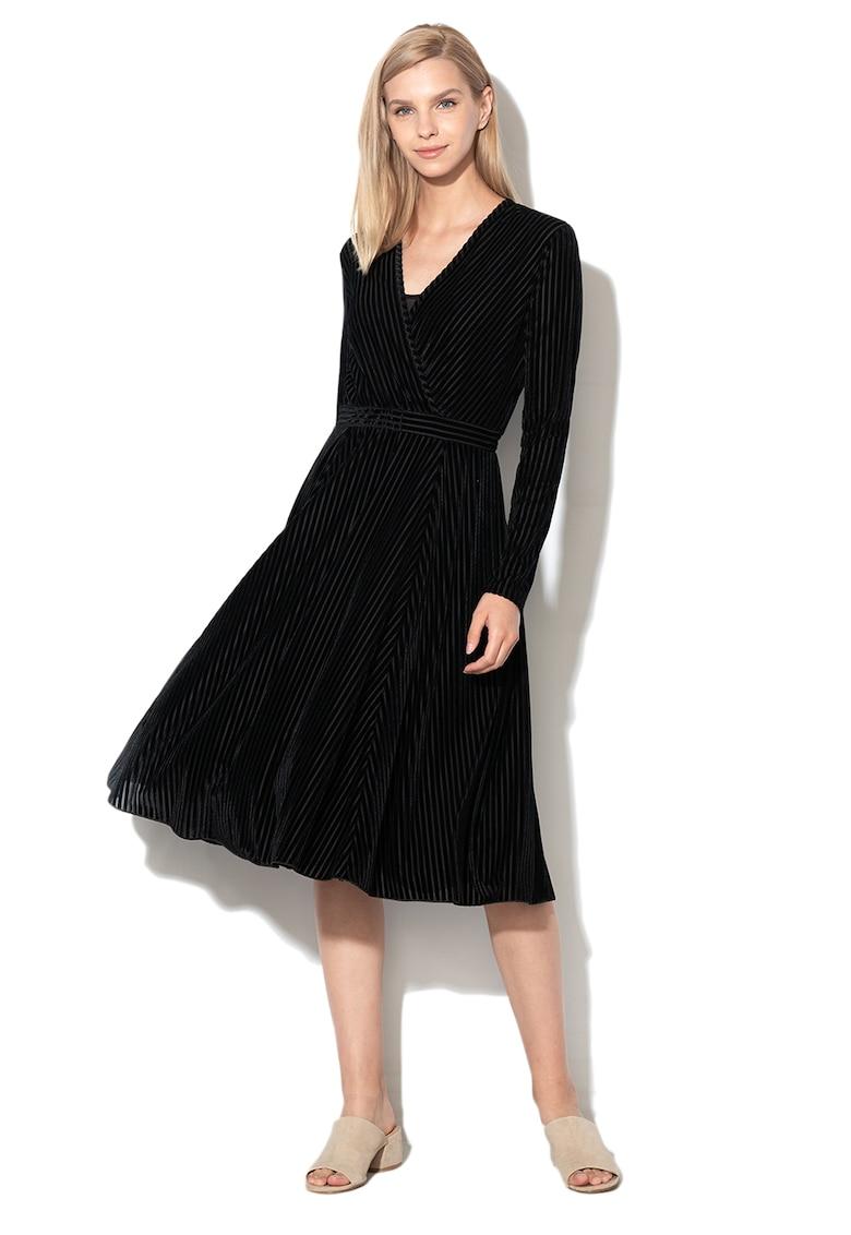 Rochie cu decolteu in V - din catifea