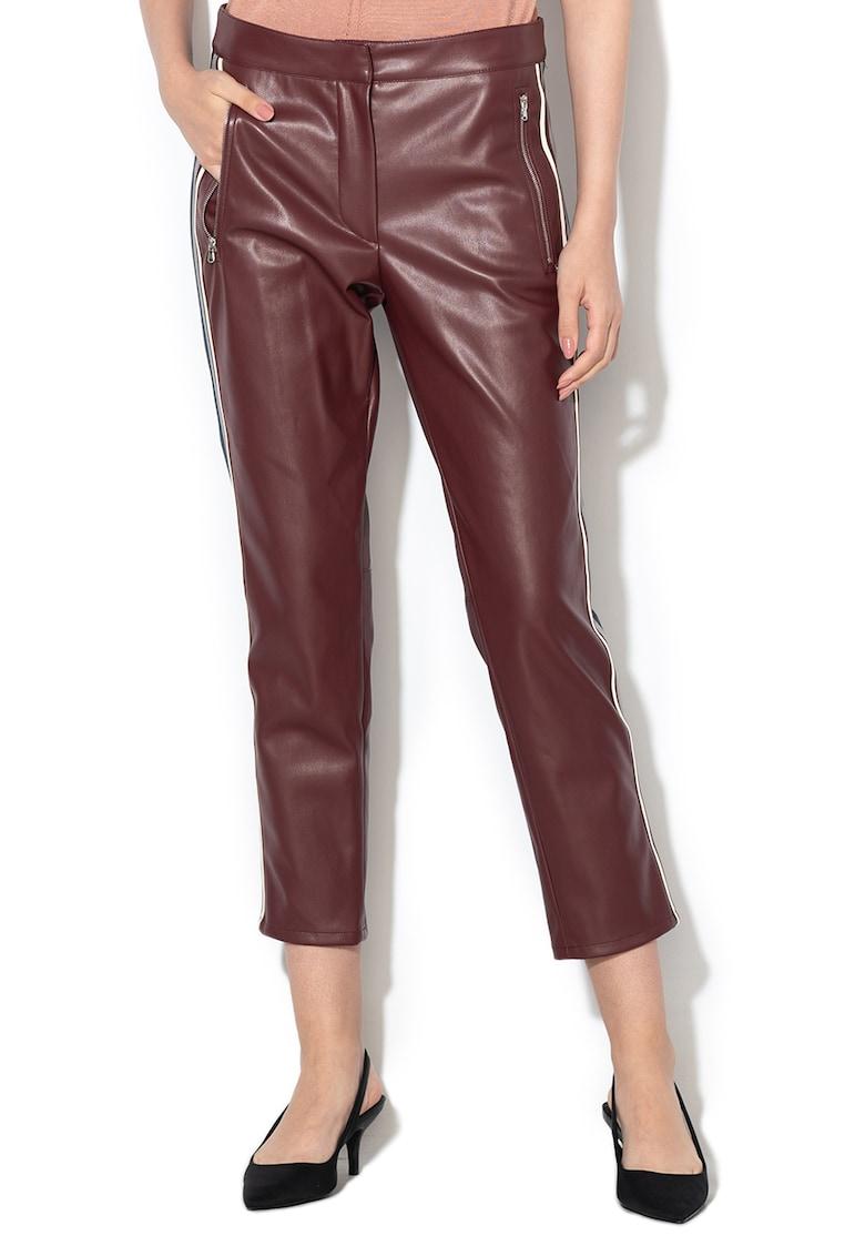 Pantaloni crop de piele sintetica Armonia