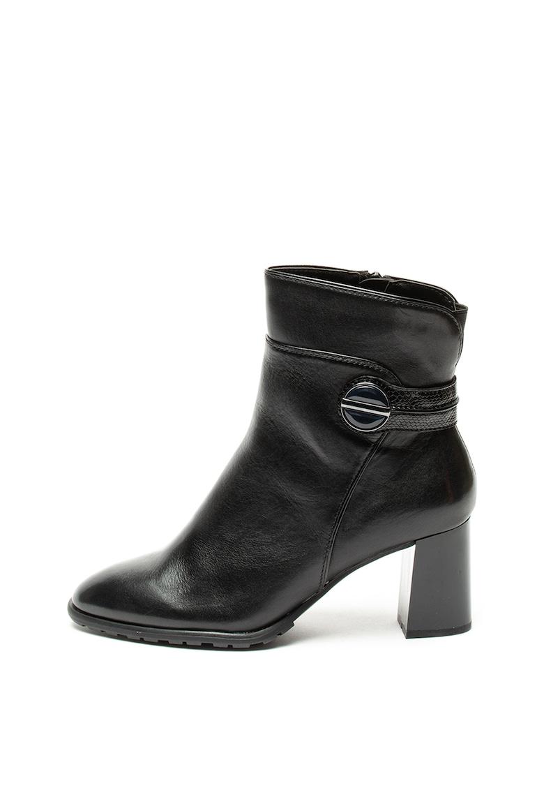 Jana Shoes Botine de piele cu toc masiv si insertii de material sintetic
