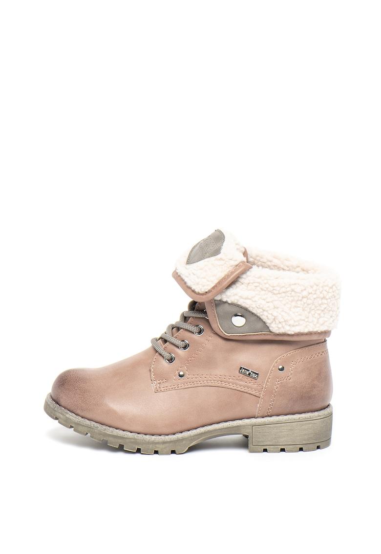 Bocanci din piele ecologica cu captuseala din blana shearling sintetica de la Jana Shoes