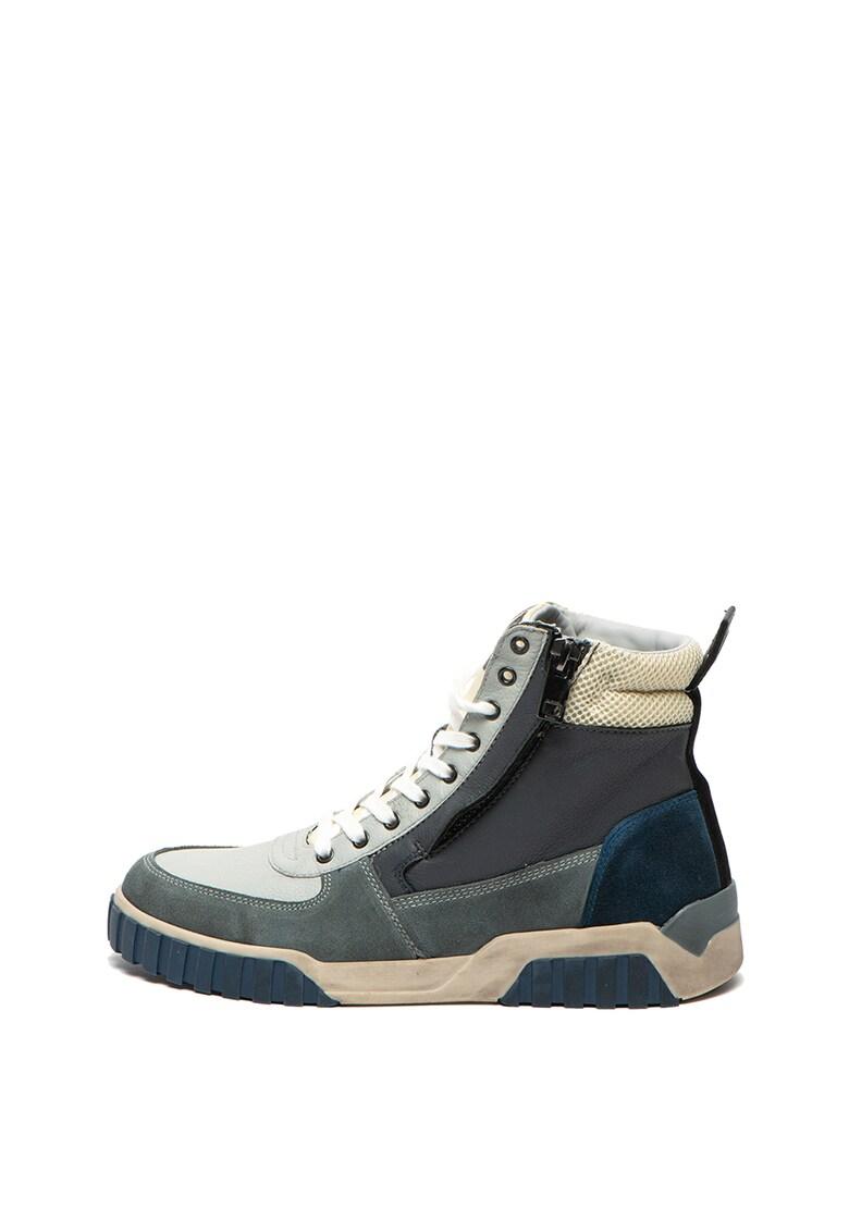 Pantofi sport mid-high de piele si piele intoarsa S-Rua