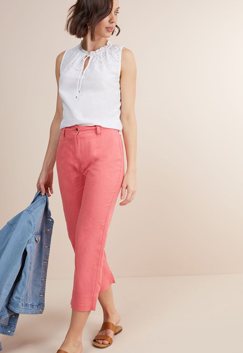 NEXT Pantaloni crop din amestec de in
