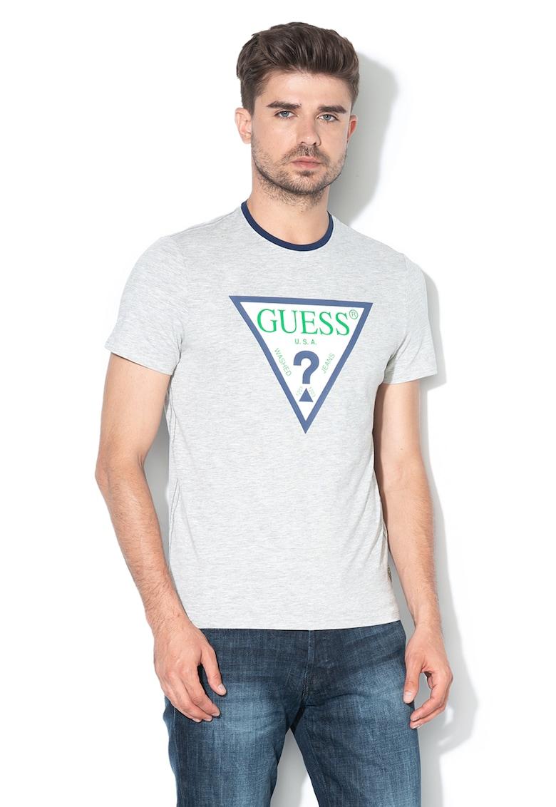 Tricou super slim fit cu aplicatie logo GUESS JEANS