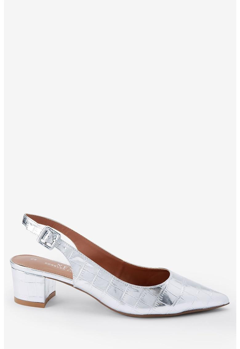 Pantofi slingback cu varf ascutit si model crocodil de la NEXT