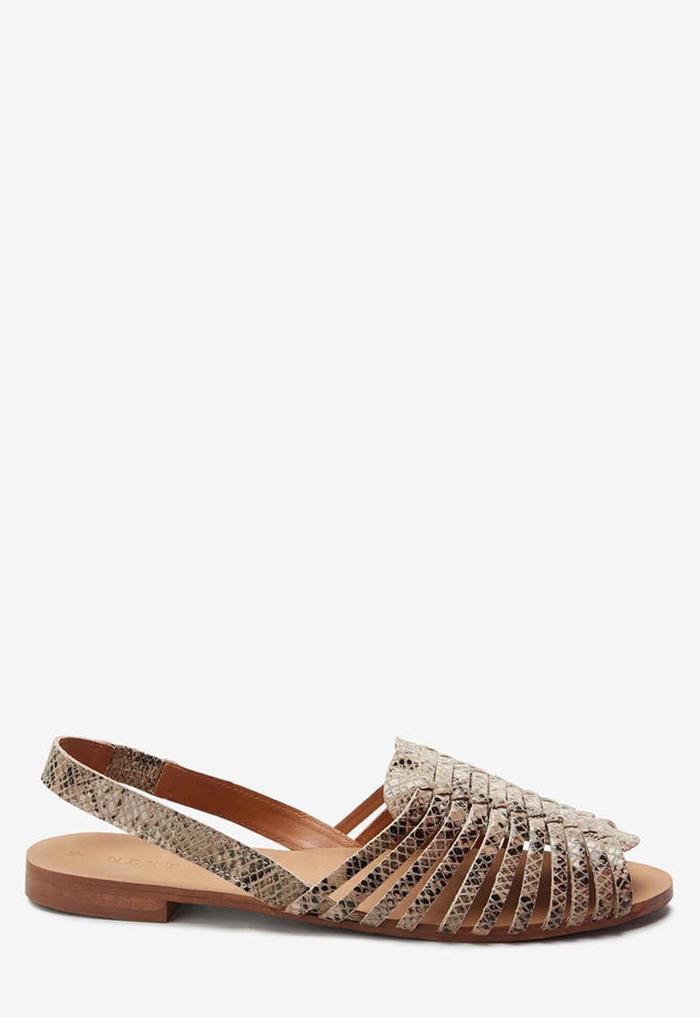 Sandale slingback de piele cu model impletit NEXT